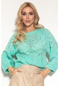 Fobya - Ażurowy Sweter z Bufiastym Rękawem - Zielony. Kolor: zielony. Materiał: wełna, poliamid, akryl, poliester. Wzór: ażurowy