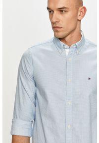 Niebieska koszula TOMMY HILFIGER na co dzień, button down, długa, casualowa