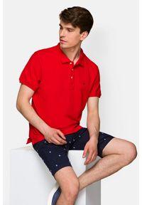 Lancerto - Koszulka Czerwona Polo Patrick. Typ kołnierza: polo. Kolor: czerwony. Materiał: włókno, tkanina, materiał, bawełna. Wzór: ze splotem. Styl: klasyczny