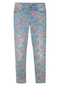 """Dżinsy dziewczęce ze stretchem bonprix jasnoniebieski """"bleached"""". Kolor: niebieski. Materiał: bawełna, materiał, poliester, elastan. Wzór: kwiaty. Sezon: lato"""