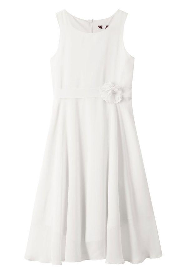 Sukienka na uroczyste okazje bonprix biel wełny. Kolor: biały. Materiał: wełna