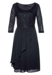 Czarna sukienka bonprix elegancka, z aplikacjami