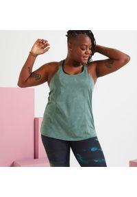 DOMYOS - Koszulka fitness damska Domyos bez rękawów. Kolor: brązowy, wielokolorowy, zielony. Materiał: poliester, materiał. Długość rękawa: bez rękawów. Sport: fitness