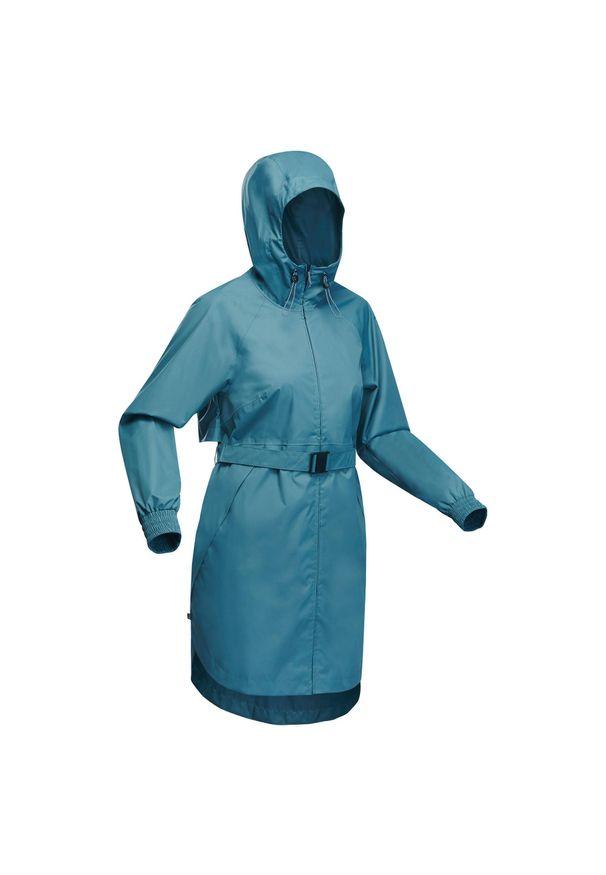 quechua - Kurtka turystyczna - Raincut long - damska. Kolor: niebieski, wielokolorowy, turkusowy. Materiał: tkanina, poliester. Długość: do kolan. Wzór: jednolity