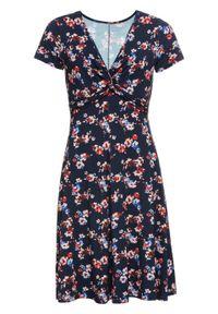 Sukienka z dżerseju bonprix ciemnoniebieski w kwiaty. Kolor: niebieski. Materiał: jersey. Wzór: kwiaty