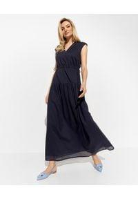 PESERICO - Granatowa sukienka z aplikacją. Kolor: niebieski. Materiał: bawełna. Wzór: aplikacja. Sezon: wiosna, lato. Typ sukienki: z odkrytymi ramionami. Długość: maxi