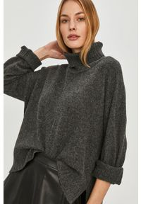 Szary sweter Noisy may z golfem, z długim rękawem, długi