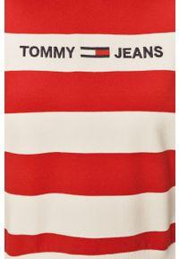 Czerwona bluza Tommy Jeans długa, z długim rękawem, z kapturem