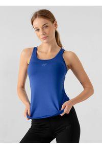 4f - Top treningowy slim szybkoschnący damski. Kolor: niebieski. Materiał: włókno, dzianina, skóra