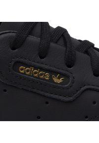 Adidas - Buty adidas - Sleek W CG6193 Cblack/Cblack/Crywht. Zapięcie: pasek. Kolor: czarny. Materiał: skóra, zamsz. Szerokość cholewki: normalna. Wzór: gładki, paski