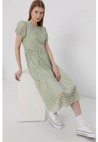 only - Only - Sukienka. Okazja: na co dzień. Kolor: zielony. Materiał: tkanina. Długość rękawa: krótki rękaw. Wzór: gładki. Typ sukienki: proste. Styl: casual