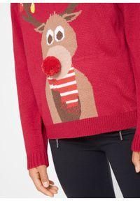 Czerwony sweter bonprix z aplikacjami