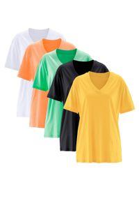 Długi shirt z dekoltem w szpic (5 sztuk), krótki rękaw bonprix żółty kanarkowy + kremowy miętowy + morelowy + czarny + biały. Kolor: żółty. Długość rękawa: krótki rękaw. Długość: krótkie