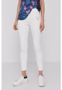 Białe jeansy Desigual gładkie