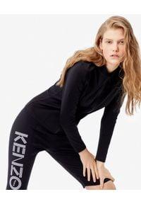 Kenzo - KENZO - Czarne szorty Biker z logo. Stan: podwyższony. Kolor: czarny. Materiał: materiał. Wzór: nadruk, haft. Styl: sportowy