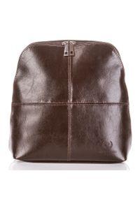 PAOLO PERUZZI - Skórzany plecak damski brązowy Paolo Peruzzi Z-998-PP-BR. Kolor: brązowy. Materiał: skóra