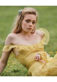 Żółta sukienka rozkloszowana, maxi, boho
