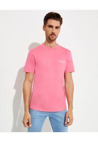 Balmain - BALMAIN - Różowy t-shirt z logo. Kolor: różowy, wielokolorowy, fioletowy. Materiał: bawełna