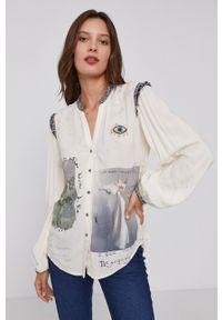 Desigual - Koszula. Kolor: beżowy. Materiał: włókno, tkanina. Długość rękawa: długi rękaw. Długość: długie. Wzór: aplikacja