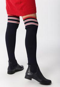 Born2be - Granatowe Kozaki Verity. Wysokość cholewki: przed kolano. Nosek buta: okrągły. Kolor: niebieski. Materiał: bawełna, dzianina, skóra, materiał. Szerokość cholewki: normalna. Wzór: gładki. Obcas: na obcasie. Wysokość obcasa: niski