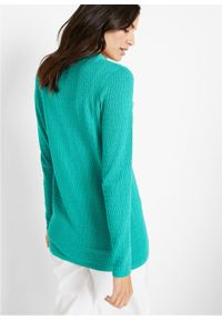 Sweter rozpinany w ażurowy wzór bonprix szmaragdowy. Kolor: zielony. Wzór: ażurowy #4