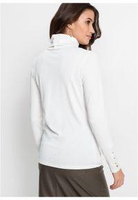 Biała bluzka bonprix długa, z golfem, z długim rękawem
