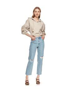 Beżowa bluza TOP SECRET krótka, z kapturem