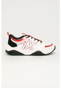 Białe buty sportowe Armani Exchange z cholewką, na sznurówki, z okrągłym noskiem