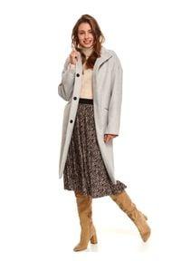 TOP SECRET - Elegancki płaszcz ze stójką z dodatkiem wełny. Typ kołnierza: kołnierzyk stójkowy. Kolor: szary. Materiał: wełna. Sezon: zima. Styl: elegancki #6