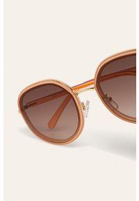 Złote okulary przeciwsłoneczne ANSWEAR okrągłe