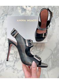 AMINA MUADDI - Czarne sandały na szpilce Marni. Zapięcie: klamry. Kolor: czarny. Materiał: guma. Obcas: na szpilce. Wysokość obcasa: średni