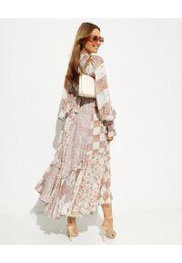 IXIAH - Patchworkowa sukienka Heirloom. Kolor: beżowy. Materiał: wiskoza. Wzór: aplikacja, nadruk. Długość: maxi