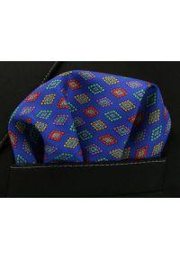 Niebieska poszetka Chattier w geometryczne wzory