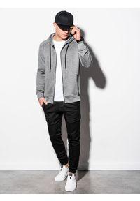 Ombre Clothing - Bluza męska rozpinana z kapturem B1074 - grafitowa - XL. Typ kołnierza: kaptur. Kolor: szary. Materiał: tkanina, bawełna, poliester