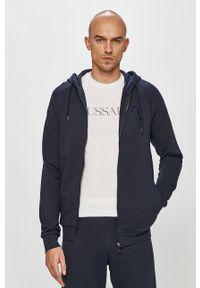 Niebieska bluza rozpinana Trussardi Jeans na co dzień, z kapturem, casualowa