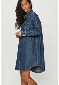 Niebieska sukienka Wrangler mini, na co dzień, oversize, gładkie