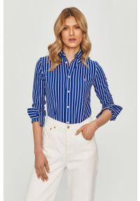 Niebieska koszula Polo Ralph Lauren casualowa, polo, długa, z długim rękawem