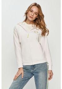Biała bluza rozpinana Armani Exchange z kapturem, na co dzień, casualowa