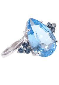 Braccatta - BŁĘKITNY PTAK Złoty Pierścionek z niebieskim topazem 5,3 ct. Materiał: złote. Kolor: niebieski, złoty, wielokolorowy. Kamień szlachetny: topaz