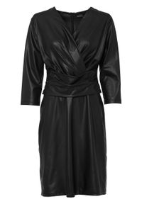 Sukienka ze sztucznej skóry bonprix czarny. Kolor: czarny. Materiał: skóra