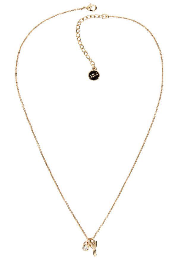 Złoty naszyjnik Karl Lagerfeld z kryształem, metalowy