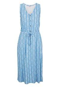 Sukienka shirtowa midi bonprix średni niebieski. Kolor: niebieski. Styl: elegancki. Długość: midi