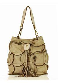 Beżowa torebka klasyczna skórzana