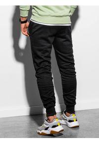 Ombre Clothing - Spodnie męskie dresowe joggery P867 - czarne - XXL. Kolor: czarny. Materiał: dresówka