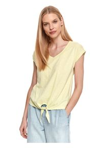 Miętowy t-shirt TOP SECRET z krótkim rękawem, krótki, gładki