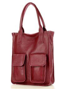 Shopper z kieszeniami bordowa MARCO MAZZINI s131u. Kolor: czerwony. Materiał: skórzane. Styl: street. Rodzaj torebki: na ramię