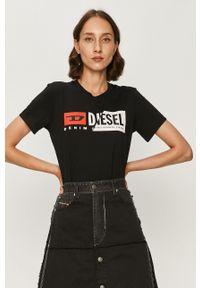 Czarna bluzka Diesel casualowa, z nadrukiem