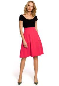 Różowa spódnica trapezowa MOE z podwyższonym stanem