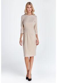 Nife - Prosta Sukienka z Rękawem 3/4 - Beżowa. Kolor: beżowy. Materiał: wiskoza, poliester. Typ sukienki: proste