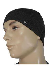 Szara czapka EM Men's Accessories na zimę, elegancka